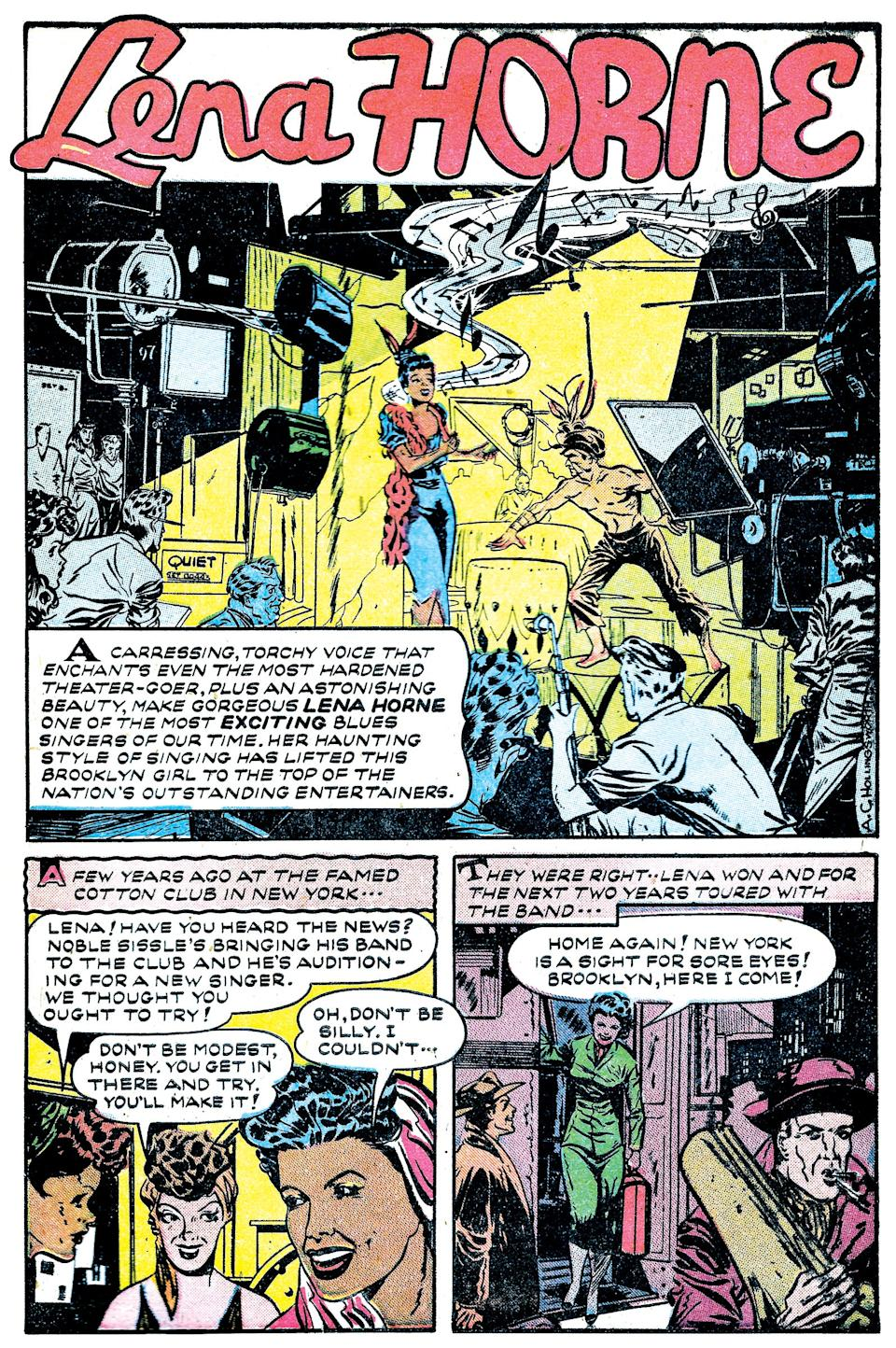 """Page of a 1948 comic book about iconic singer Lena Horne, created by Alvin Hollingsworth, one of 18 artists profiled in the new book """"Invisible Men:  The Trailblazing Black Artists of Comic Books."""""""
