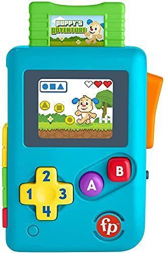 """<p><strong>Fisher-Price</strong></p><p>amazon.com</p><p><strong>$7.99</strong></p><p><a href=""""https://www.amazon.com/dp/B08HRDND11?tag=syn-yahoo-20&ascsubtag=%5Bartid%7C10055.g.4624%5Bsrc%7Cyahoo-us"""" rel=""""nofollow noopener"""" target=""""_blank"""" data-ylk=""""slk:Shop Now"""" class=""""link rapid-noclick-resp"""">Shop Now</a></p><p>This toddler toy will take you back to your own 8-bit video gaming days. There's no real game to play, but toddlers can push the buttons or press down on the cartridge for lights, songs, sounds and phrases that teach directions, colors, numbers and shapes. <em>Ages 6 months+</em></p>"""