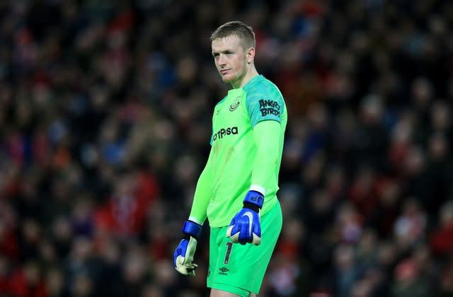 Everton goalkeeper Jordan Pickford after his mistake gifted Liverpool victory in the last Merseyside derby at Anfield (Peter Byrne/PA Images).