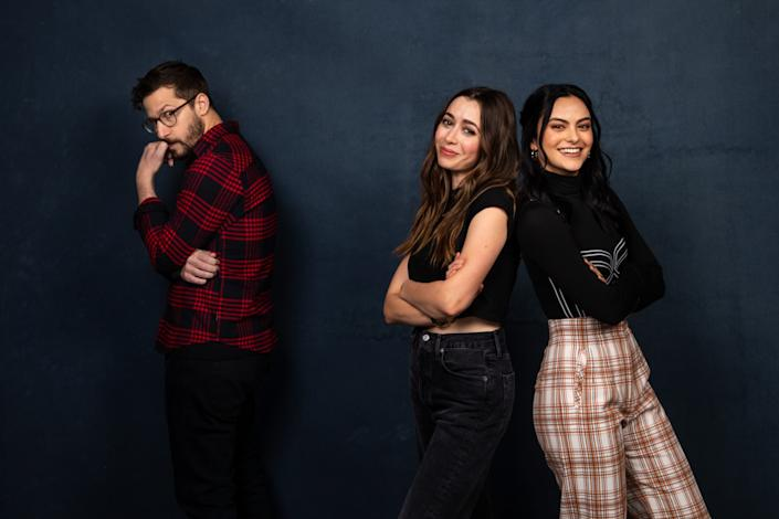 """Actors Andy Samberg, Cristin Milioti, middle, and Camila Mendes of """"Palm Springs."""" <span class=""""copyright"""">(Jay L. Clendenin/Los Angeles Times)</span>"""