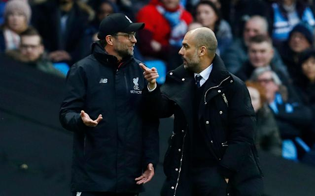 <span>The tough fixtures keep on coming for Klopp and Guardiola </span> <span>Credit: reuters </span>