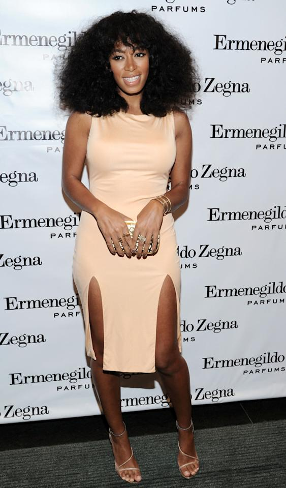 "NEW YORK, NY - DECEMBER 03:  Musician Solange Knowles attends Ermenegildo Zegna ""Essenze"" Collection Launch event at The Ermenegildo Zegna Boutique on December 3, 2012 in New York City.  (Photo by Ilya S. Savenok/Getty Images)"
