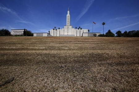 The Church of Jesus Christ of Latter-day Saints Mormon temple is seen with a brown lawn, which church officials have not watered because of the drought, in Los Angeles