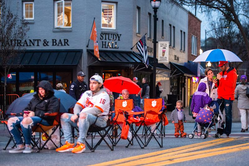 Clemson fans gathered in downtown Clemson on College Ave. for a watch party where the Clemson Tigers football team's national championship game against LSU in New Orleans was broadcast Monday, January 13, 2020.