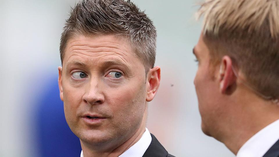Michael Clarke (pictured left) talking to Shane Warne (pictured right) before commentary.