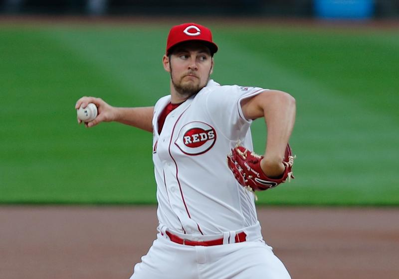 Trevor Bauer as he pitches for the Reds