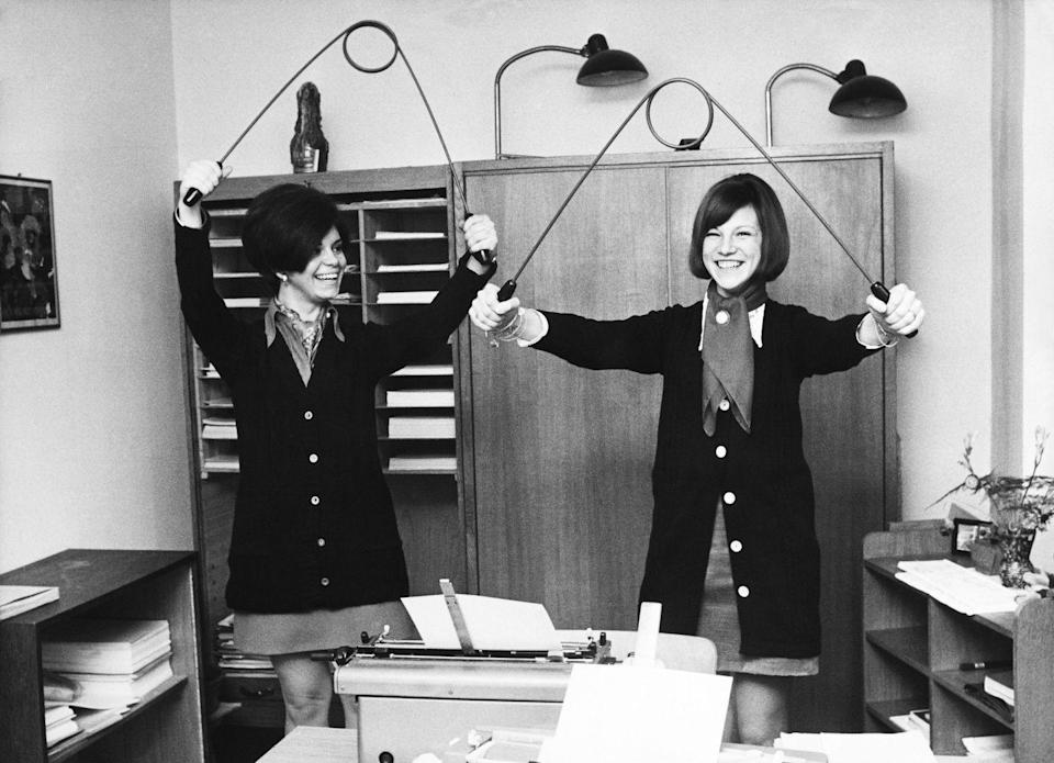 <p>If you thought the shake-weight was inventive, you would have been amazed by the gadgets created in the 1970s for toning, strengthening, stretching, you name it. The device pictured was used in Germany for toning arms. </p>