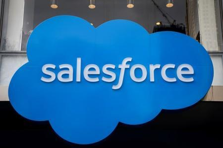 FILE PHOTO: The company logo for Salesforce.com is displayed on the Salesforce Tower in New York