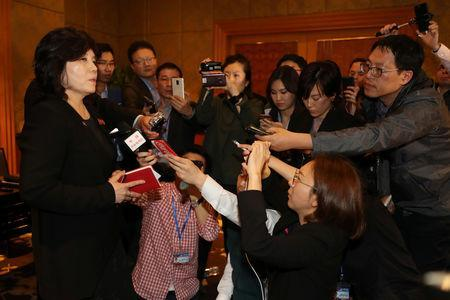 North Korean Vice Foreign Minister Choe Son Hui speaks to reporters after a news conference following the end of a summit between North Korean leader Kim Jong Un and U.S. President Donald Trump, in Hanoi, Vietnam, March 1, 2019. Yonhap/via REUTERS
