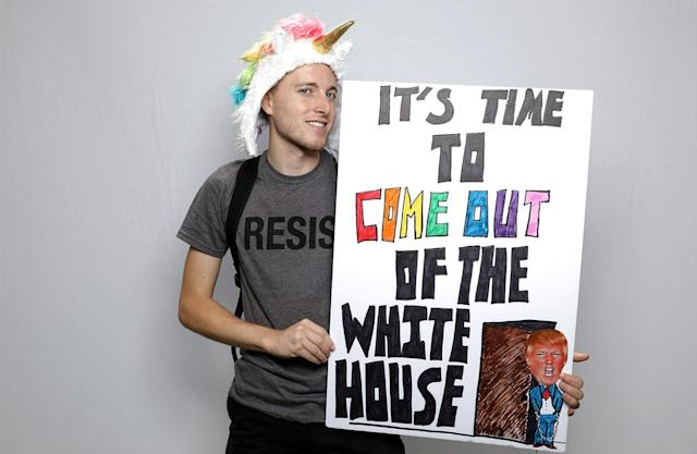 "<p>Tommy Craven, 24, poses for a portrait during the Resist March against President Donald Trump in West Hollywood, California, U.S., June 11, 2017. Tommy said: ""When you see people out at Pride representing trans rights, representing gay rights, representing everybody's rights, none of that is inclusive in anything that he's putting forward. How do you expect our country to be great if a large part of the population is being kept out of that equation?"" (Photo: Lucy Nicholson/Reuters) </p>"
