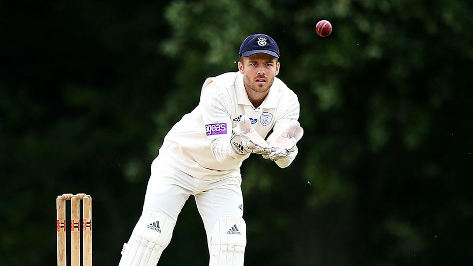 Seen here, Lewis McManus playing county cricket for Hampshire.