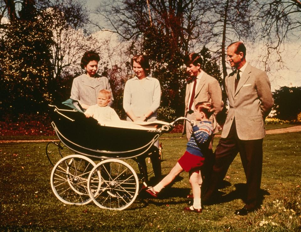 1965: Queen Elizabeth II and The Prince Philip, Duke of Edinburgh with their children (right to left); Charles Prince of Wales, Prince Andrew, Prince Edward and Princess Anne celebrating the Queen's 39th birthday at Windsor.