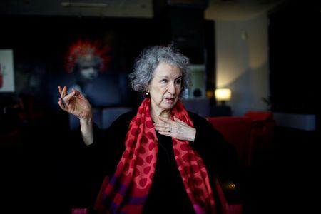 Canadian writer Margaret Atwood speaks during an interview at a hotel in Havana, Cuba