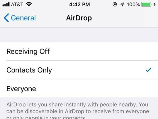 airdrop setting