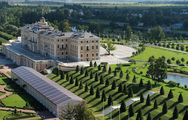 In this photograph provided by the G20 host broadcaster, an aerial view of the Constantine Palace in St. Petersburg, Russia on Wednesday, Sept. 4, 2013. The palace, which will be the venue for G20 leaders beginning on Thursday, Sept. 5, was founded in 1715 by the first Russian Emperor Peter the Great and used as a summer residence that was meant to outshine the French Versailles. (AP Photo/g20Russia)