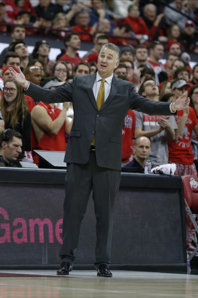 Purdue head coach Matt Painter reacts to a referee's call against Ohio State during the second half of an NCAA college basketball game Saturday, Feb. 15, 2020, in Columbus, Ohio. Ohio State beat Purdue 68-52. (AP Photo/Jay LaPrete)