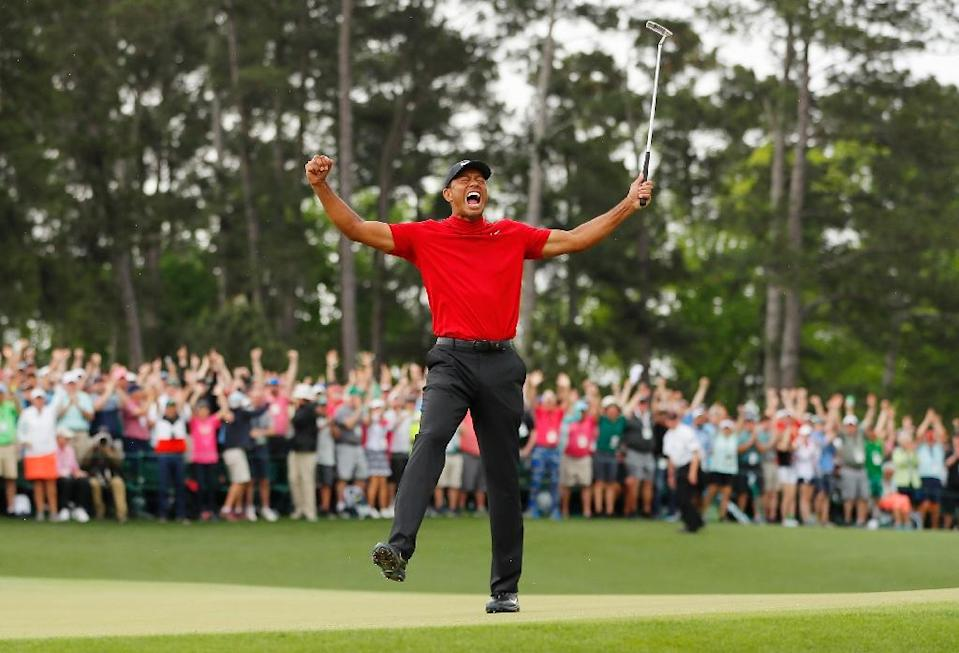 Tiger Woods won his fifth Masters title with a one-shot victory at Augusta (AFP Photo/Kevin C. Cox)