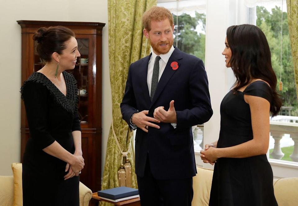 "<p>Meghan <a href=""http://www.townandcountrymag.com/society/tradition/a24363377/meghan-markle-feminism-speech-new-zealand-transcript/"" rel=""nofollow noopener"" target=""_blank"" data-ylk=""slk:gave a powerful speech"" class=""link rapid-noclick-resp"">gave a powerful speech</a> during a later reception at the Government House. </p>"
