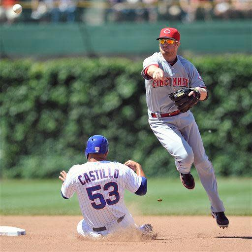 Chicago Cubs' Welington Castillo (53) is doubled-up at second as Cincinnati Reds' Zack Cozart throws to first to complete the double play on the Cubs' Darwin Barney during the fourth inning of a baseball game Thursday, June 13, 2013, in Chicago. (AP Photo/Jim Prisching)