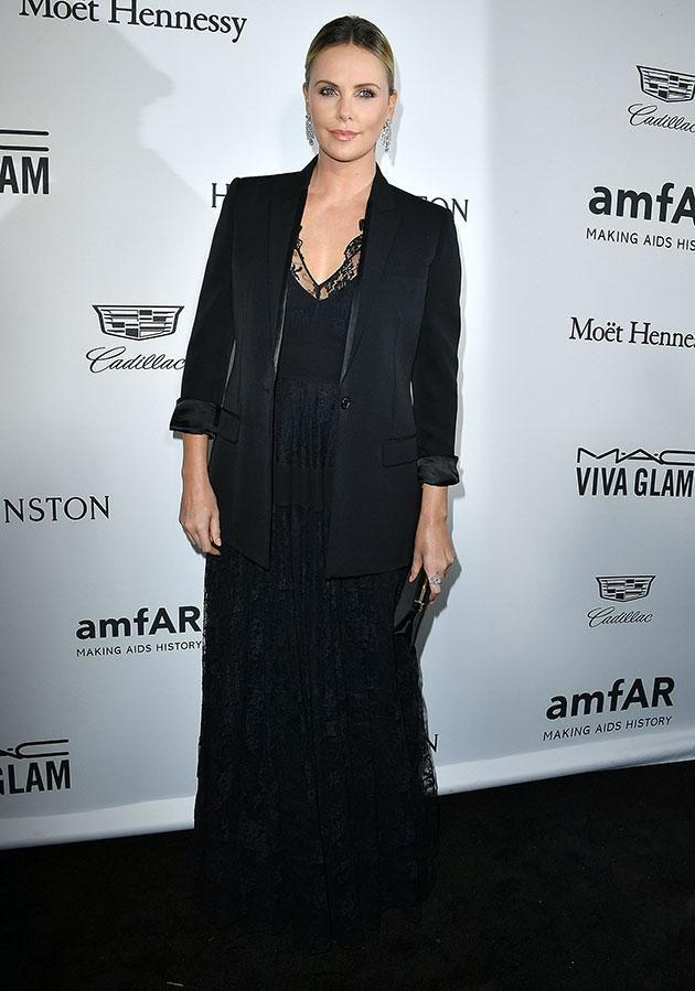 Charlize was honoured at the amfAR gala for her humanitarian work. Photo: Getty.