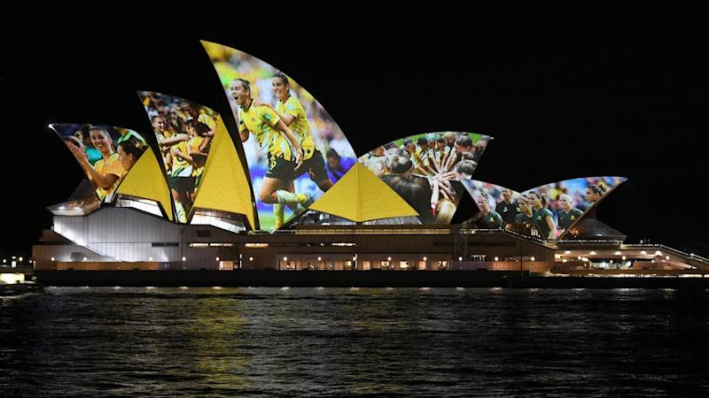 The Sydney Opera House was lit up to celebrate Australia and New Zealand's joint FIFA WWC 2023 bid