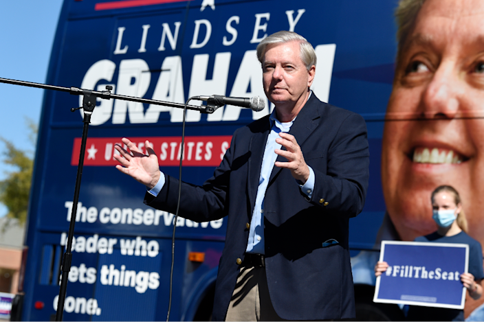 Sen. Lindsey Graham speaks at a get-out-the vote rally on Saturday, Oct. 17, 2020, in Columbia, S.C.