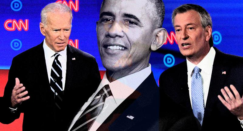 Joe Biden, Barack Obama and Bill de Blasio. (Photo illustration: Yahoo News; photos: Jim Watson/AFP/Getty Images, AP, Scott Olson/Getty Images)