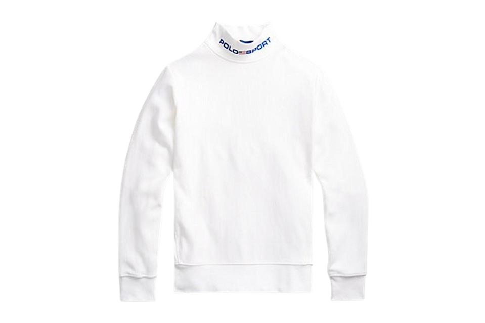 "$99, Ralph Lauren. <a href=""https://www.ralphlauren.com/men-clothing-shop-new-arrivals-cg/polo-sport-fleece-mockneck-sweatshirt/566247.html?dwvar566247_colorname=White&cgid=men-clothing-shop-new-arrivals-cg&webcat=men%2Ffeature%2FNew%20Arrivals#webcat=men%257Cfeature%257CNew%2520Arrivals&start=1&cgid=men-clothing-shop-new-arrivals-cg"" rel=""nofollow noopener"" target=""_blank"" data-ylk=""slk:Get it now!"" class=""link rapid-noclick-resp"">Get it now!</a>"