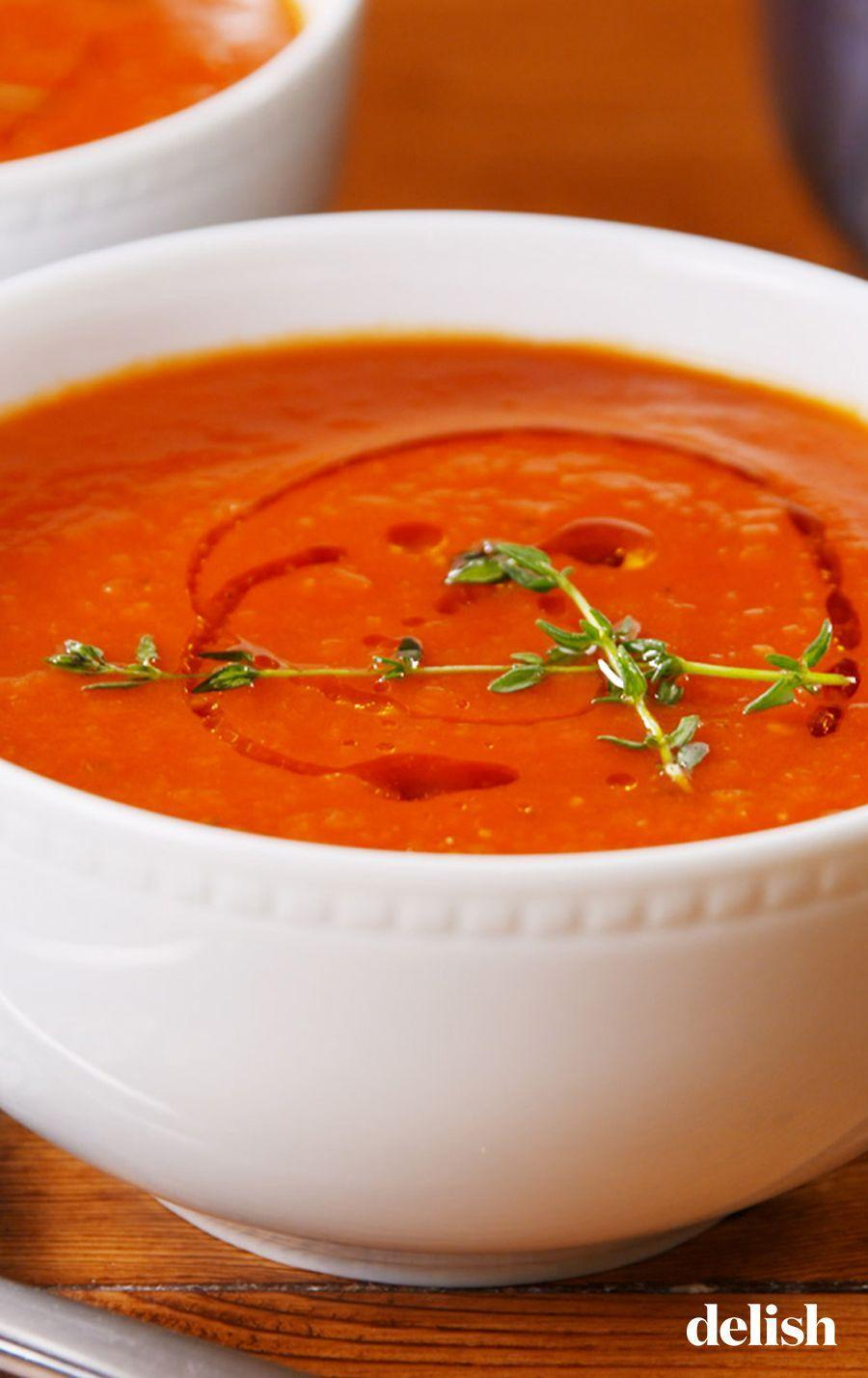 """<p>There's really nothing more comforting than a steaming hot bowl of tomato soup. </p><p>Get the recipe from <a href=""""https://www.delish.com/cooking/recipe-ideas/a23513895/classic-tomato-soup-recipe/"""" rel=""""nofollow noopener"""" target=""""_blank"""" data-ylk=""""slk:Delish"""" class=""""link rapid-noclick-resp"""">Delish</a>. </p>"""