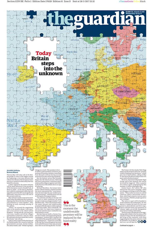 <p>The Guardian's puzzle front cover removed Britain from Europe. Oddly, the paper appeared to chop Donegal off the top of Ireland and cast it adrift along with England, Wales and Scotland.  </p>