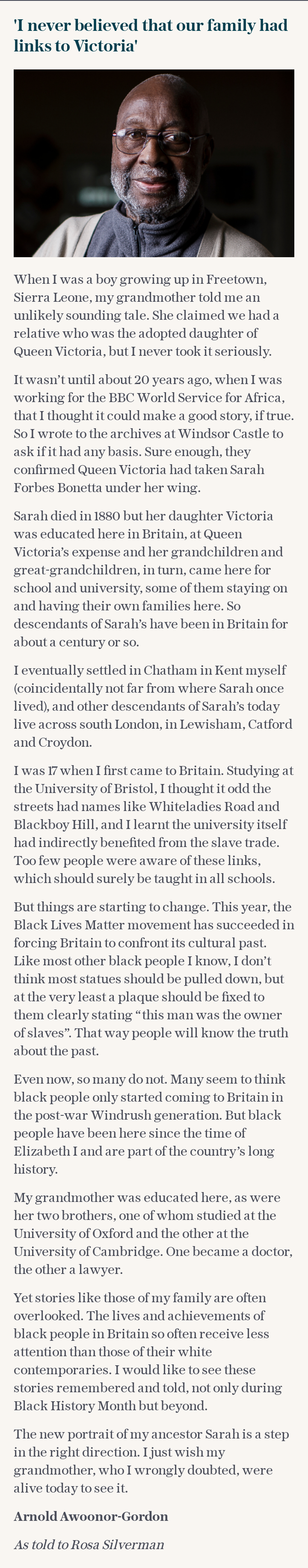 Arnold Awoonor-Gordon: 'There have been black people in Britain since Tudor times'