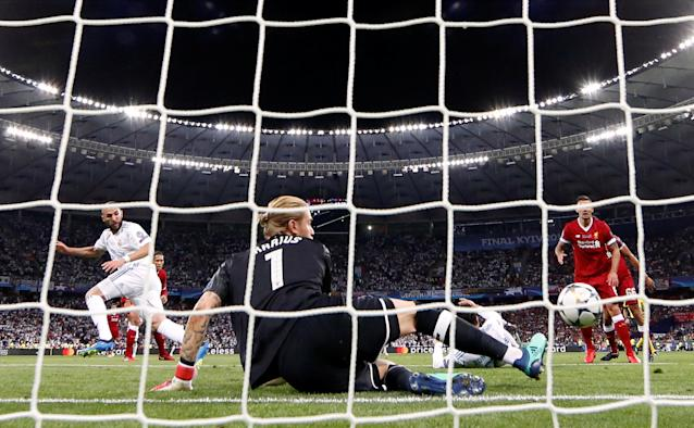 Soccer Football - Champions League Final - Real Madrid v Liverpool - NSC Olympic Stadium, Kiev, Ukraine - May 26, 2018 Real Madrid's Karim Benzema scores a goal which is later disallowed due to offside REUTERS/Andrew Boyers