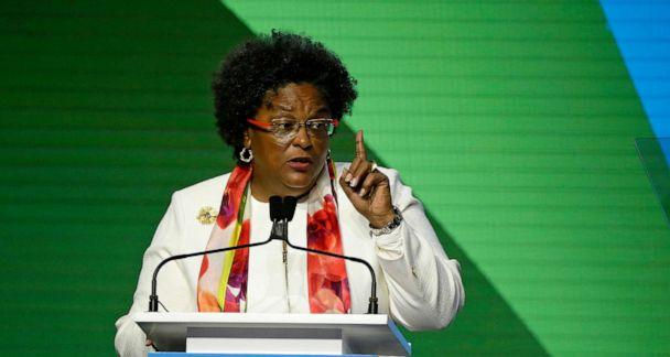 PHOTO: Barbados Prime Minister Mia Mottley speaks during the opening plenary of the Global Action Climate Summit in San Francisco, Sept. 13, 2018. (Eric Risberg/AP, FILE)