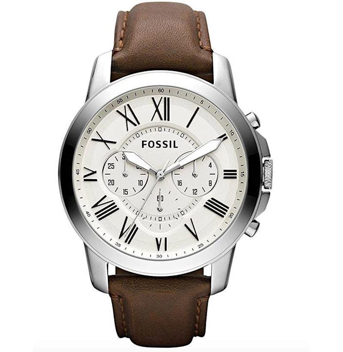 """<p><strong>Fossil</strong></p><p>amazon.com</p><p><strong>$80.82</strong></p><p><a href=""""https://www.amazon.com/dp/B00E4NNCZO?tag=syn-yahoo-20&ascsubtag=%5Bartid%7C10054.g.35351418%5Bsrc%7Cyahoo-us"""" rel=""""nofollow noopener"""" target=""""_blank"""" data-ylk=""""slk:Shop Now"""" class=""""link rapid-noclick-resp"""">Shop Now</a></p><p>Fuck any watch that doubles as a creepily accurate step counter. It's time to cop yourself a classic chronograph that won't look like a fossil (heh) a decade down the line. </p>"""