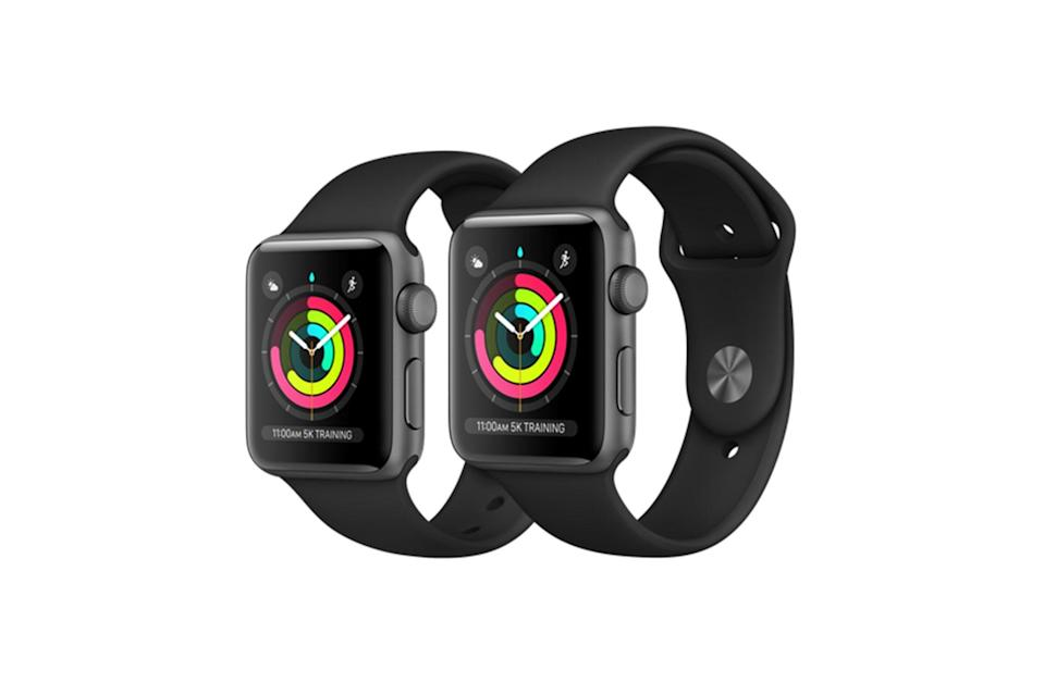 "$199, Apple. <a href=""https://www.apple.com/shop/buy-watch/apple-watch-series-3/space-gray-aluminum-black-sport-band?preSelect=false&product=MTF02LL/A&step=detail#"" rel=""nofollow noopener"" target=""_blank"" data-ylk=""slk:Get it now!"" class=""link rapid-noclick-resp"">Get it now!</a>"