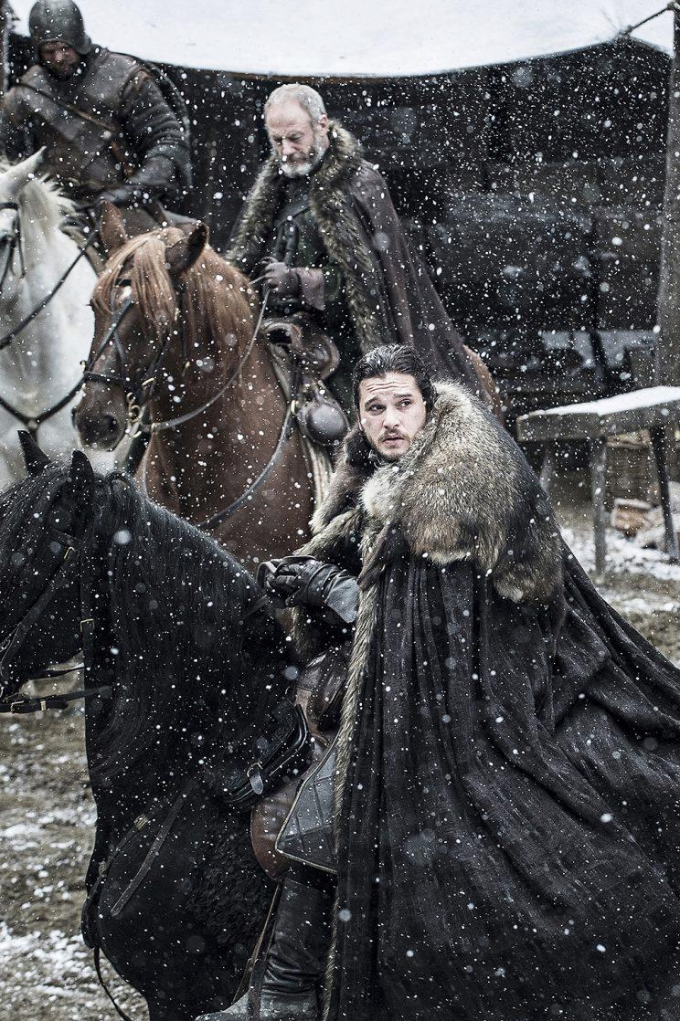 Liam Cunningham as Davos Seaworth and Kit Harington as Jon Snow in HBO's Game of Thrones . (Photo Credit: HBO)