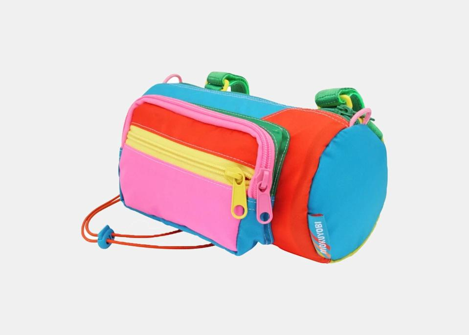 """Meet one of the coolest—and definitely most colorful—saddle bags for adults. Made in Los Angeles, California, the <a href=""""https://cna.st/affiliate-link/2WCz5sTzkxBSE8jMytWSahXH552m2MYCCFN9GGSrYwXKfasQdGUDb8oNZ3hmEPCqZBJRJS2MxXMCFCXdXyvbhjXK8QNJ2Affrgf8jL6PjVcmuBkiJ1y1F31KSk4S26AMGGhjievQwuU9jzHPCzcW?cid=6088358d27797cef4fb8c2af"""" rel=""""nofollow noopener"""" target=""""_blank"""" data-ylk=""""slk:Bubble Gummy Bike Barrel Bag"""" class=""""link rapid-noclick-resp"""">Bubble Gummy Bike Barrel Bag</a> is fun, playful, and likely to turn heads as you ride down the street. Made with 100 percent nylon, the material expands to fit everything you need in the main compartment. The greatest perk is the foam lining, which keeps <a href=""""https://www.cntraveler.com/gallery/best-canned-wines-and-cocktails?mbid=synd_yahoo_rss"""" rel=""""nofollow noopener"""" target=""""_blank"""" data-ylk=""""slk:drinks"""" class=""""link rapid-noclick-resp"""">drinks</a> and snacks cool during your ride. A detachable strap transforms it into a cross-body bag for when you park your bike. $75, Mokuyobi. <a href=""""https://mokuyobi.com/collections/bike-bag/products/bubble-gummy-bike-barrel-bag"""" rel=""""nofollow noopener"""" target=""""_blank"""" data-ylk=""""slk:Get it now!"""" class=""""link rapid-noclick-resp"""">Get it now!</a>"""