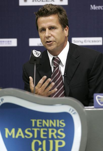 FILE - Brad Drewett, CEO of Association of Tennis Professionals (ATP) International and Tournament Director at the ongoing Tennis Masters Cup, in this file photo dated Thursday, Nov. 13, 2008, at Qi Zhong Tennis Center in Shanghai, China. On Friday May 3, 2013, the ATP announced that 54-year old chairman Brad Drewett has died at his home in Sydney, Australia, after a battle with motor neurone disease. (AP Photo/Bullit Marquez, FILE)