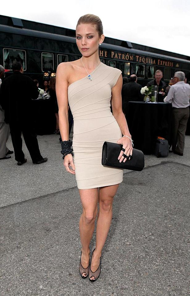 """90210"" actress AnnaLynne McCord showed off her super-svelte figure in a skintight taupe sheath dress at the St. Bernard Project Epicurian Express Wrap Party in Los Angeles. Todd Williamson/<a href=""http://www.wireimage.com"" target=""new"">WireImage.com</a> - June 28, 2010"