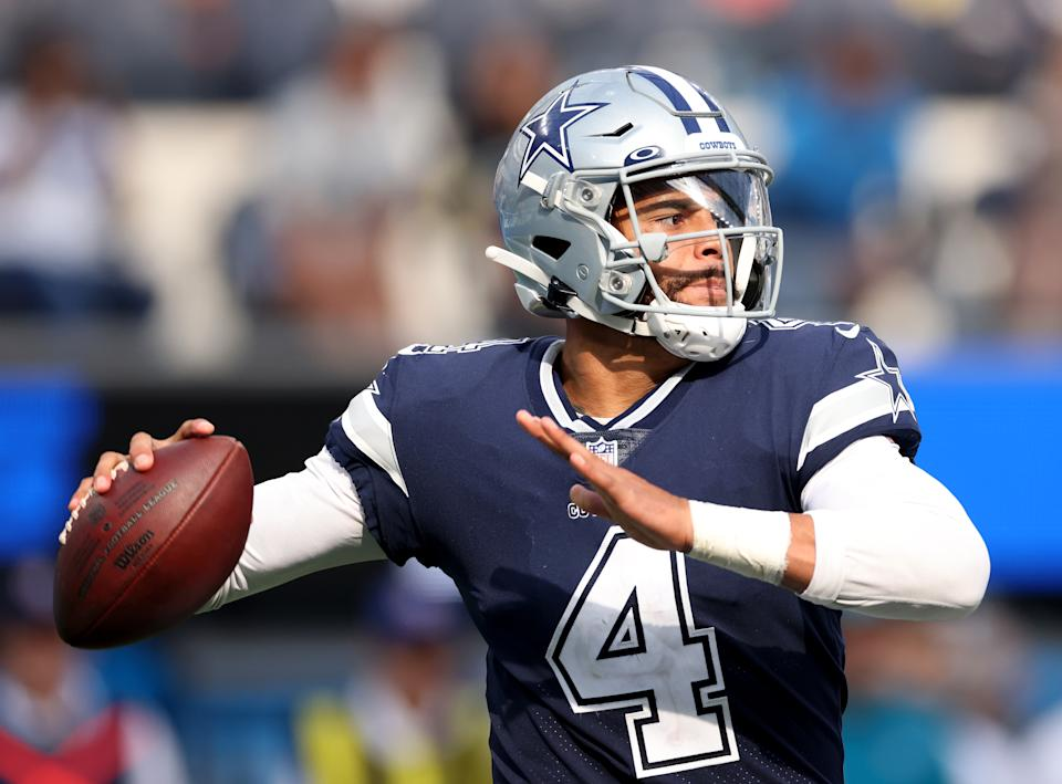 INGLEWOOD, CALIFORNIA - SEPTEMBER 19: Dak Prescott #4 of the Dallas Cowboys looks to pass during a 20-17 win over the Los Angeles Chargers at SoFi Stadium on September 19, 2021 in Inglewood, California. (Photo by Harry How/Getty Images)