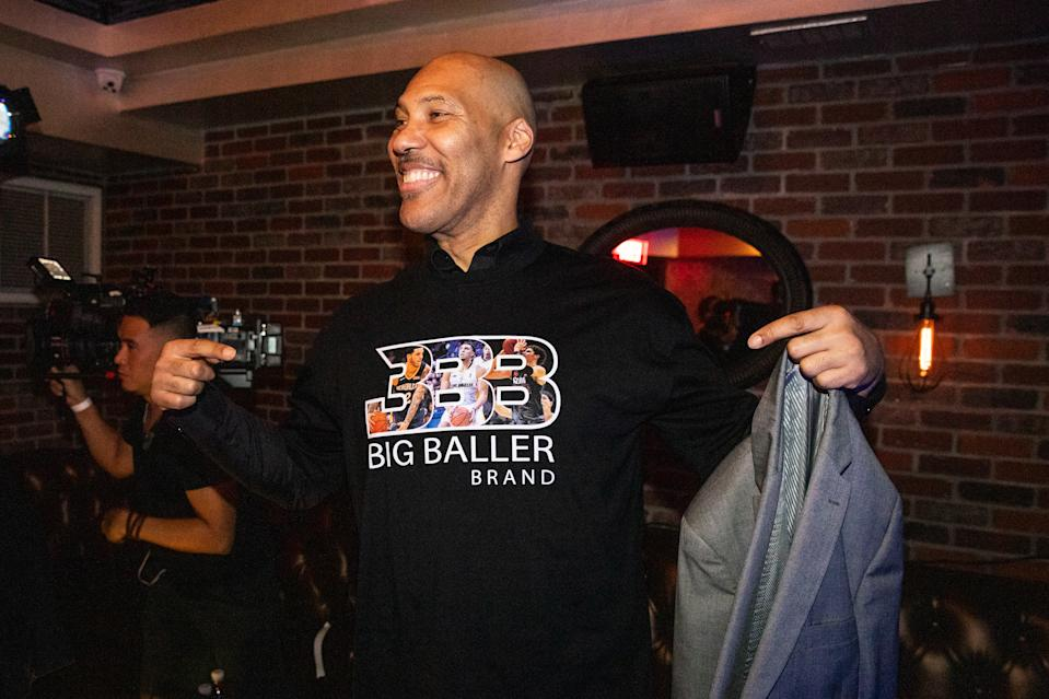 LOS ANGELES, CALIFORNIA - NOVEMBER 23: LaVar Ball shows off his custom Big Baller Brand shirt at LiAngelo Ball's 21st Birthday Party at Argyle club on November 23, 2019 in Hollywood, California. (Photo by Cassy Athena/Getty Images)