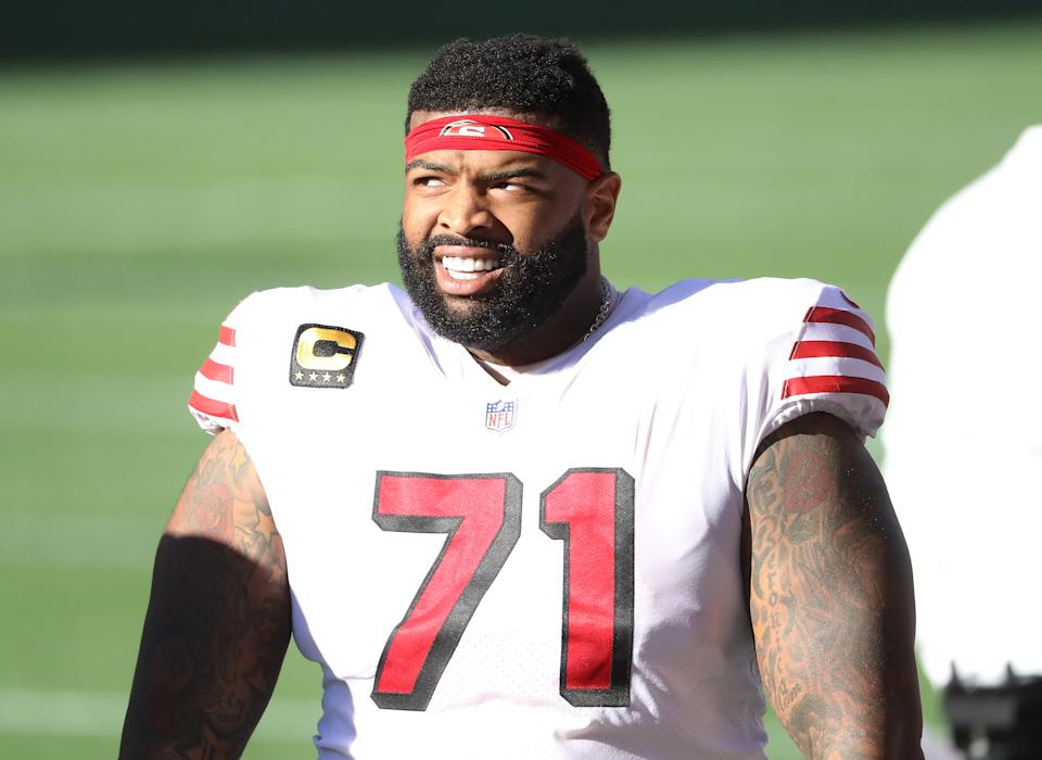 Trent Williams signed a massive deal to remain with the 49ers. (Photo by Abbie Parr/Getty Images)