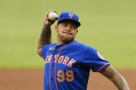 New York Mets starting pitcher Taijuan Walker (99) delivers in the second inning of a baseball game against the Atlanta Braves, Monday, May 17, 2021, in Atlanta. (AP Photo/John Bazemore)