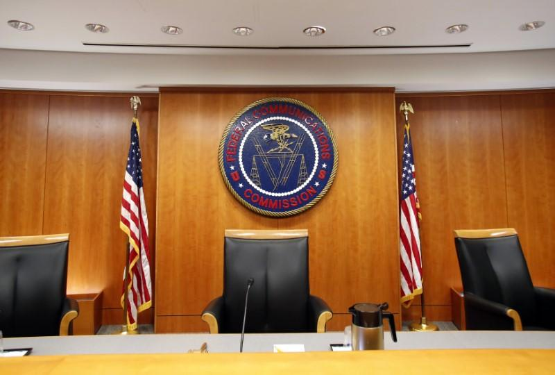 Federal Communications Commission (FCC) hearing room is seen in Washington