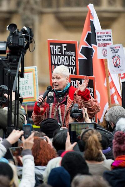 Fashion designer and activist Vivienne Westwood addresses an anti-fracking rally outside the Houses of Parliament in central London on January 26, 2015 (AFP Photo/Leon Neal)
