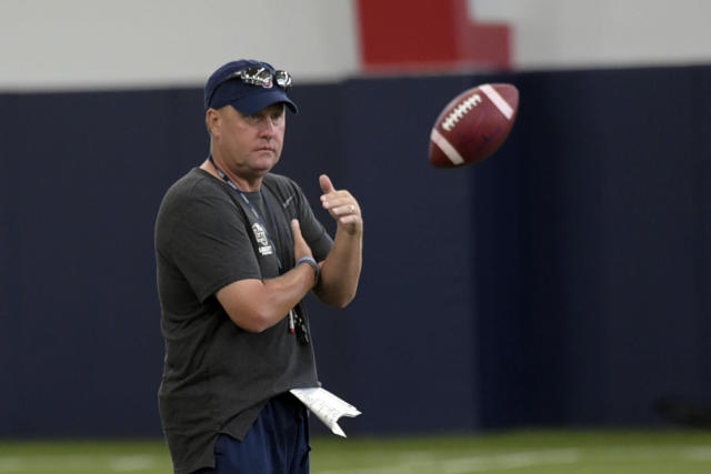Liberty head coach Hugh Freeze may have to coach the team's first game of 2019 from the booth. (AP)