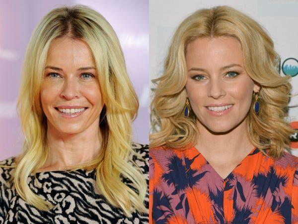 """<p><a href=""""https://www.elle.com/uk/life-and-culture/a30079468/elizabeth-banks-charlies-angels/"""" rel=""""nofollow noopener"""" target=""""_blank"""" data-ylk=""""slk:Hunger Games actor Banks"""" class=""""link rapid-noclick-resp"""">Hunger Games actor Banks </a>is yet another celebrity that is more than happy to embrace her<a href=""""https://www.youtube.com/watch?v=F9m93tiZvLg"""" rel=""""nofollow noopener"""" target=""""_blank"""" data-ylk=""""slk:doppelgänger with open arms."""" class=""""link rapid-noclick-resp""""> doppelgänger with open arms.</a></p><p> In an interview in 2011, for Chelsea Hander's talkshow <a href=""""https://www.huffpost.com/entry/elizabeth-banks-talks-impersonating-chelsea-handler_n_928233"""" data-ylk=""""slk:Chelsea Lately"""" class=""""link rapid-noclick-resp"""">Chelsea Lately</a>, the pair discussed the discussed the likeness with the comedian even going as far as to welcome Banks to her show by joking, 'My twin sister is here everybody.'</p>"""