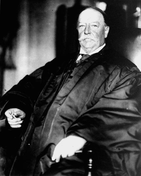 FILE - This Feb. 5, 1930, file photo shows former President and U.S. Supreme Court Chief Justice William Howard Taft in his judicial robes. History buffs know Taft is the only president-turned-Supreme Court chief justice, but he's also remembered as the president whose weight, at times well over 300 pounds, made headlines. But in the early 1900s, way before Weight Watchers, the nation's 27th president was helping to usher in a modern approach to treating obesity according to a report released Monday, Oct. 14, 2013, in the journal Annals of Internal Medicine. (AP Photo/Files)