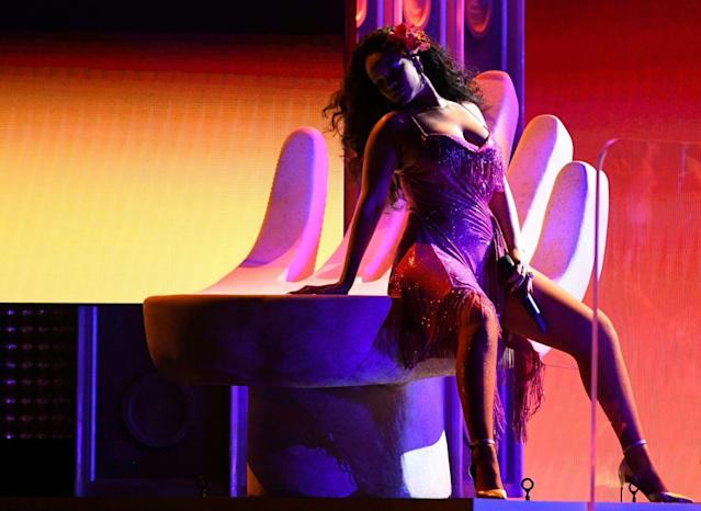 <p>Rihanna performs during the 60th Annual Grammy Awards show on January 28, 2018, in New York. (Photo: Getty Images) </p>