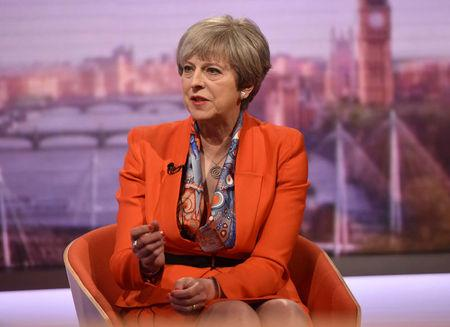 Britain's Prime Minister Theresa May speaks on the BBC's Marr Show in London, April 30, 2017. Jeff Overs/BBC Handout via REUTERS